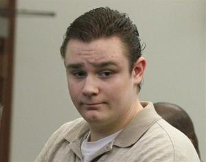 FILE In this Oct. 15, 2012 photo, Brogan Rafferty waits to be taken from the courtroom of Judge Lynn S. Callahan in the Summit County Courthouse during the lunch break in his trial in Akron, Ohio.  Rafferty, 17, was sentenced Friday, Nov. 9, 2012 to life in prison with no...