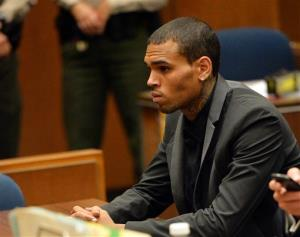 Chris Brown appears during a court hearing in Los Angeles in this July file photo.