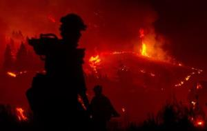 Firefighters light a back burn near Pine, Idaho while fighting the Elk fire Wednesday Aug. 14, 2013.