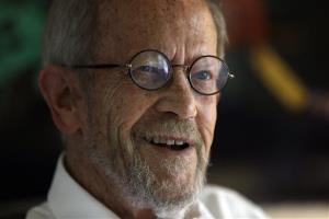 In this Sept. 17, 2012, file photo is author Elmore Leonard at his Bloomfield Township, Mich., home.
