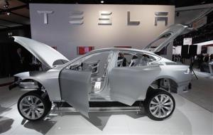 A Tesla Model S is shown at the North American International Auto Show in Detroit Jan. 10, 2011.