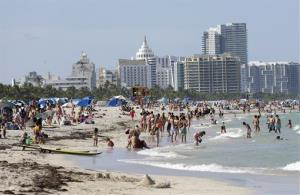 Beachgoers in Florida enjoy a day by the water.