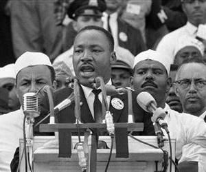 Dr. Martin Luther King Jr. addresses marchers during his I Have a Dream speech at the Lincoln Memorial in Washington, Aug. 28, 1963.