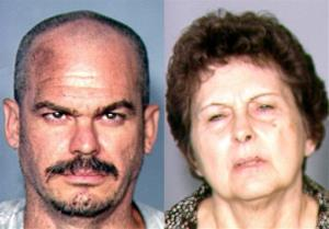 This combination of images provided by the Las Vegas Metropolitan Police Department shows David Allen Brutsche and Devon Campbell Newman.
