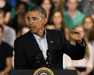 President Obama speaks about college education during a town hall meeting at Binghamton University Friday.