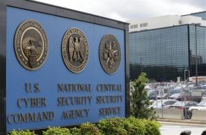 The sign outside the National Security Agency campus in Fort Meade.