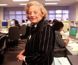 This May 9, 1995 file photo shows Muriel Siebert on the floor of her firm. Siebert, who became the first woman to own a seat on the New York Stock Exchange, has died of complications of cancer at 80.