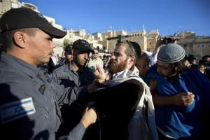 An ultra-Orthodox Jewish man argues with a police officer as he protests during a prayer organized by the Women of the Wall organization, Aug. 7, 2013.