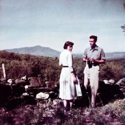 This undated photo shows JD Salinger at home in Cornish, NH, with Emily Maxwell, wife of William Maxwell, Salinger's editor at The New Yorker. The photo is part of a film and book by Shane Salerno.