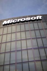 The Microsoft logo is seen on the new French branch office of Microsoft, in Issy-Les-Moulineaux, next to Paris.
