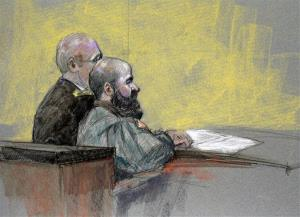 In this courtroom sketch, Maj. Nidal Hasan, right, appears at the Lawrence William Judicial Center during the sentencing phase of his trial, Tuesday, Aug. 27, 2013, in Fort Hood, Texas.
