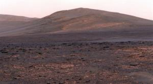 This image provided by NASA shows a panoramic view from NASA's Mars Exploration rover Opportunity of Solander Point.