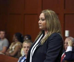 Shellie Zimmerman, wife of George Zimmerman, appears at the Seminole County Courthouse in Sanford, Fla., Aug. 28, 2013.