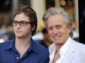 Michael Douglas, right, a cast member in Ghosts of Girlfriends Past, and his son Cameron pose together at the premiere of the film in Los Angeles, Monday, April 27, 2009.