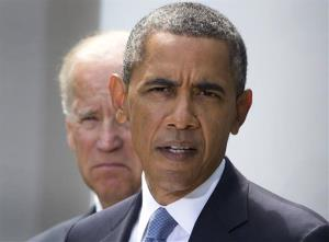 President Obama, flanked by Vice President Joe Biden, talks about the crisis in Syria, Saturday, Aug. 31, 2013.