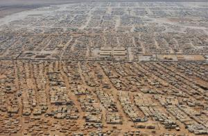 This aerial view shows the Za'atari refugee camp.