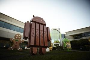 A new KitKat bar Android statue sit outside Google Inc. headquarters in Mountain View, California.