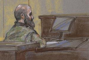 This August 23 courtroom sketch shows Hasan as the guilty verdict is read at his court martial in Fort Hood, Texas.
