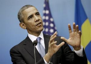 President Obama answers questions during a joint news conference with Swedish Prime Minister Fredrik Reinfeldt, Sept. 4, 2013, at the Rosenbad Building in Stockholm, Sweden.