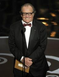 Jack Nicholson presents the award for best picture during the Oscars in February.