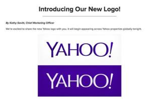 This screen grab made from Yahoo Inc.'s Tumblr page shows the company's new logo in a post published on Wednesday, Sept. 4, 2013.