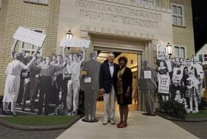 Ruby Bridges, right, who integrated Louisiana schools in 1960 under escort from U.S. Marshals, poses with Charles Burks, 91, who was one of those marshals.