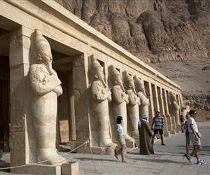 Foreign tourists visit the Hatshepsut Temple in the ancient southern city of Luxor, Egypt, in this Feb. 27, 2013, file photo.