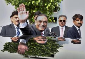 Pakistan's outgoing President Asif Ali Zardari waves in Islamabad, Pakistan. Zardari is stepping down today, becoming the first elected president in the country's history to complete his full tenure.