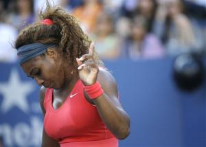 Serena Williams reacts after a point to Victoria Azarenka, of Belarus, during the women's singles final of the 2013 U.S. Open tennis tournament, Sunday, Sept. 8, 2013, in New York.