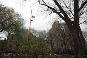 An American flag flies at half-staff in Union Square in New York, Wednesday, April 17, 2013.