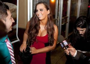 Sydney Leathers, who engaged in online sex chats with Democratic mayoral hopeful Anthony Weiner last summer, tries to enter his election gathering place at Connolly's Pub.