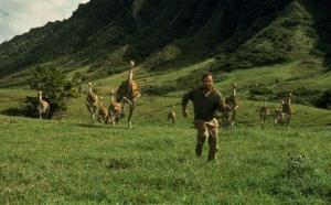 Sam Neill, portraying Dr. Alan Grant, runs from dinosaurs in a scene from the original Jurassic Park.