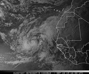 This satellite image made available by NOAA shows Humberto off the coast of west Africa.