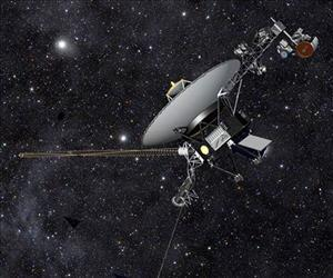 This artist rendering released by NASA shows NASA's Voyager 1 spacecraft barreling through space.