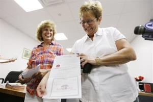 In this July 24 photo, Ellen Toplin, right, and Charlene Kurland show their new marriage license in Montgomery County, Pa.