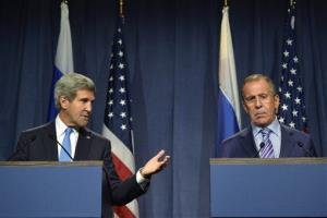 Secretary of State John Kerry speaks next to Russian Foreign Minister Sergey Lavrov in Geneva on Thursday.