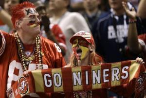 San Francisco 49ers fans react during the second half of NFL Super Bowl XLVII against the Baltimore Ravens, Sunday, Feb. 3, 2013, in New Orleans.