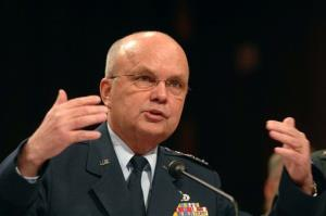 In this Feb. 5, 2008, photo, then-CIA Director Lt. Gen. Michael Hayden testifies about world threats before a Senate Intelligence Committee on Capitol Hill in Washington.