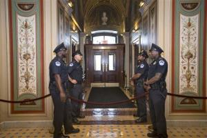 US Capitol Police officers stand guard as doors are locked down inside the Capitol Building during the shooting at the Washington Navy Yard, Monday, Sept. 16, 2013, in Washington.