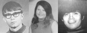 Three teens missing from Sayre, Okla., since Nov. 20, 1970. From left: Jimmy Allen Williams, Leah Gail Johnson and Thomas Michael Rios.