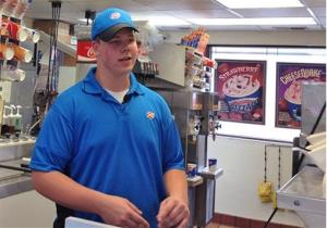 Dairy Queen employee Joey Prusak in Hopkins, Minn.