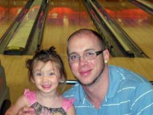 Jordan Arwood, with his daughter Chloe.