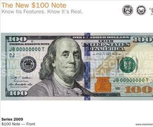 New design of the front of the $100 bill is shown after it was unveiled at the Treasury Department in Washington, Wednesday, April 21, 2010.