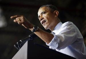 President Obama speaks to workers at the Ford Kansas City Stamping Plant in Liberty, Mo., Friday.