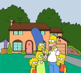 The Simpsons family posing in front of their home.