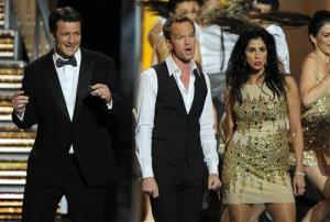 Nathan Fillion, from left, Neil Patrick Harris, and Sarah Silverman perform on stage at the 65th Primetime Emmy Awards at Nokia Theatre on Sunday, Sept. 22, 2013, in Los Angeles.