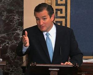 This image from Senate video shows Sen. Ted Cruz, R-Texas, speaking on the Senate floor.