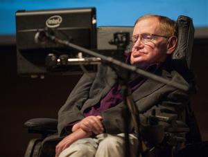 Stephen Hawking gives a talk titled  A Brief History of Mine to workers at Cedars-Sinai Medical Center in Los Angeles earlier this year.