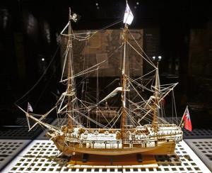 A model of the pirate ship Whydah.