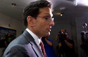 House Majority Leader Eric Cantor of Va., walks out of a Republican caucus at the U.S. Capitol in Washington, Saturday, Sept. 28, 2013.  Lawmakers from both parties urged one another in a rare weekend session to give ground in their fight over preventing a federal shutdown, with the midnight...